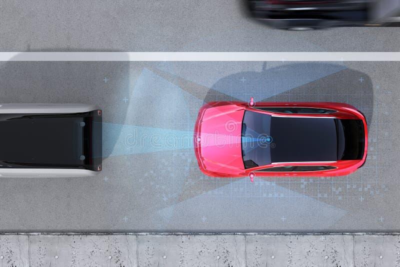 Vista aérea de la emergencia roja de SUV que frena para evitar choque de coche fotos de archivo