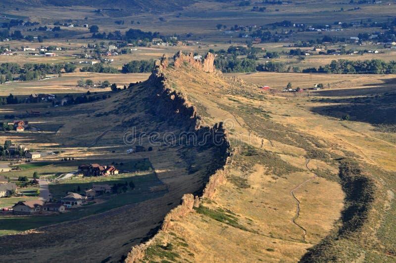Vista aérea de la espina dorsal del diablo en Loveland, CO fotos de archivo libres de regalías