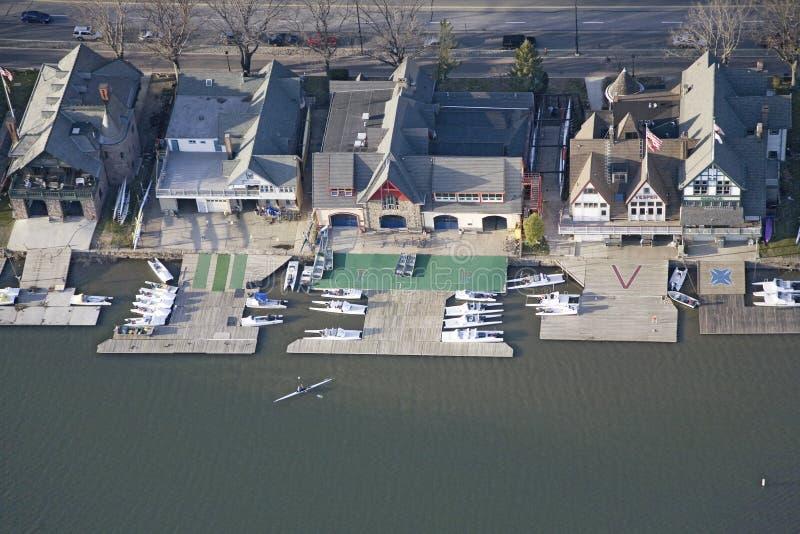 Vista aérea de la fila famosa de la casa barco del fraternity fotografía de archivo libre de regalías