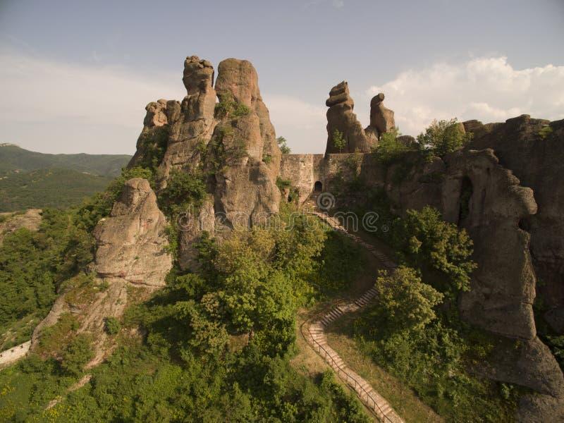 Vista aérea de la fortaleza y de las rocas, Bulgaria de Belogradchik fotos de archivo libres de regalías