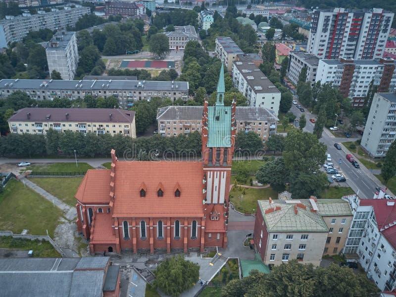 Vista aérea de la iglesia de la familia santa en Kaliningrado fotografía de archivo