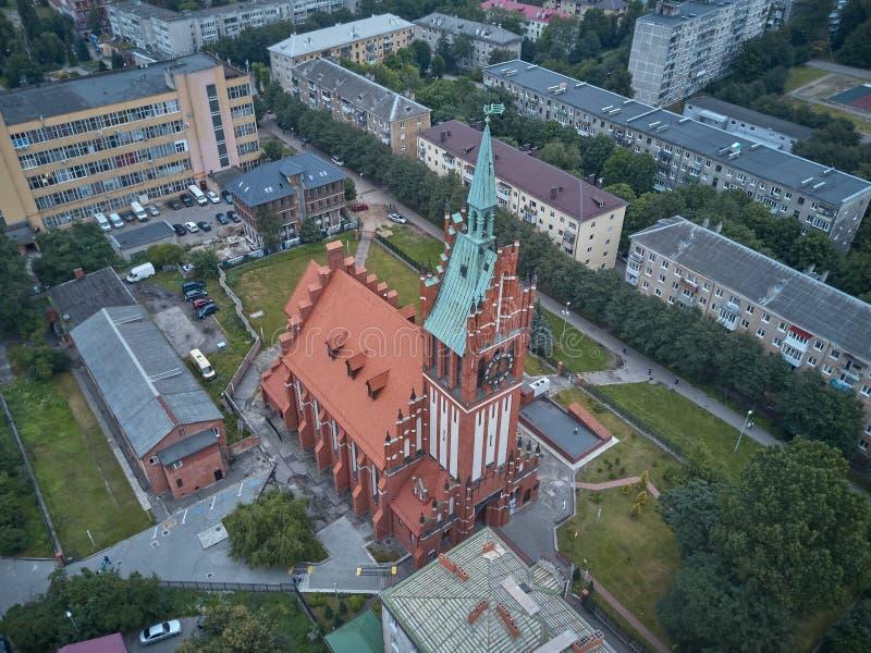 Vista aérea de la iglesia de la familia santa en Kaliningrado imagen de archivo libre de regalías