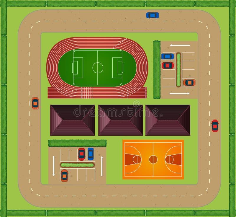 Vista aérea de la instalación que se divierte ilustración del vector