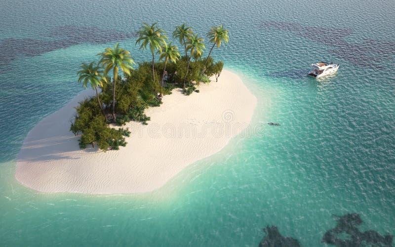 Vista aérea de la isla del paraíso ilustración del vector