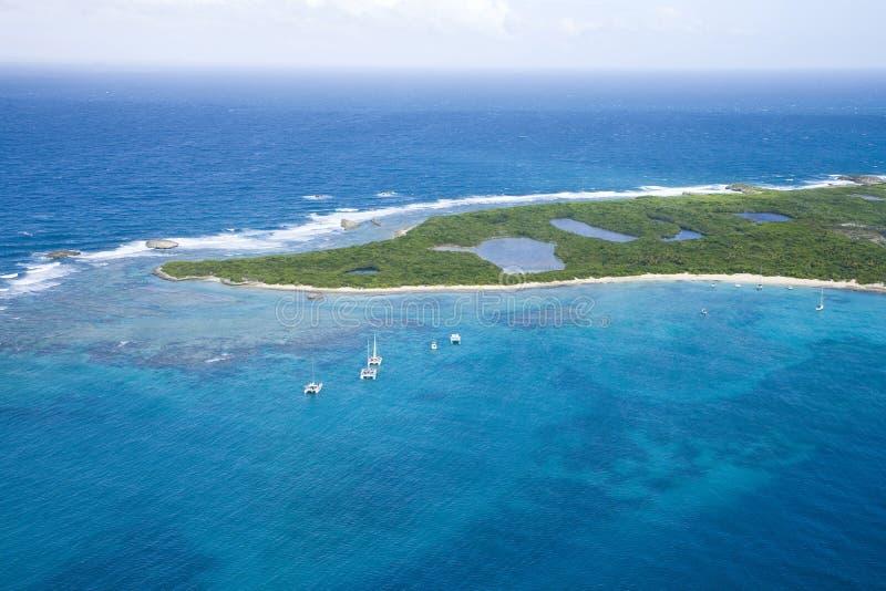 Vista aérea de la isla Puerto Rico de los icacos fotos de archivo libres de regalías