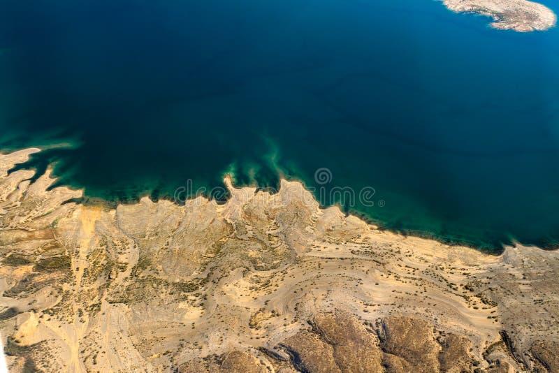 Vista aérea de la línea de la playa de la Presa Hoover fotografía de archivo
