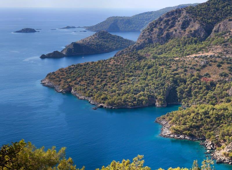 Vista aérea de la laguna hermosa en Oludeniz, Turquía imágenes de archivo libres de regalías