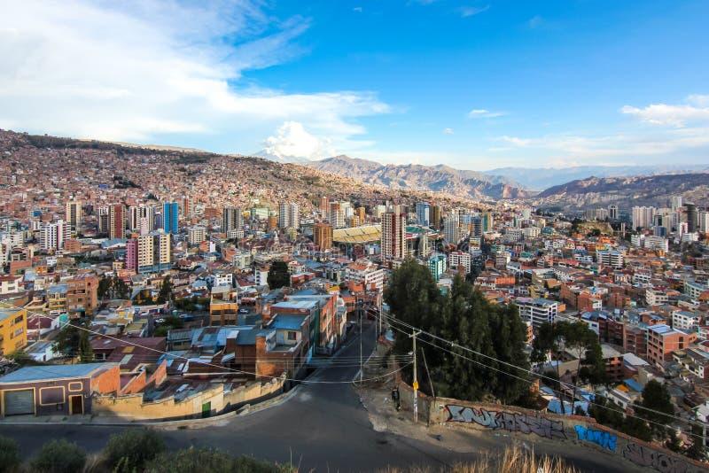 Vista aérea de La Paz/de Bolivia imagen de archivo libre de regalías