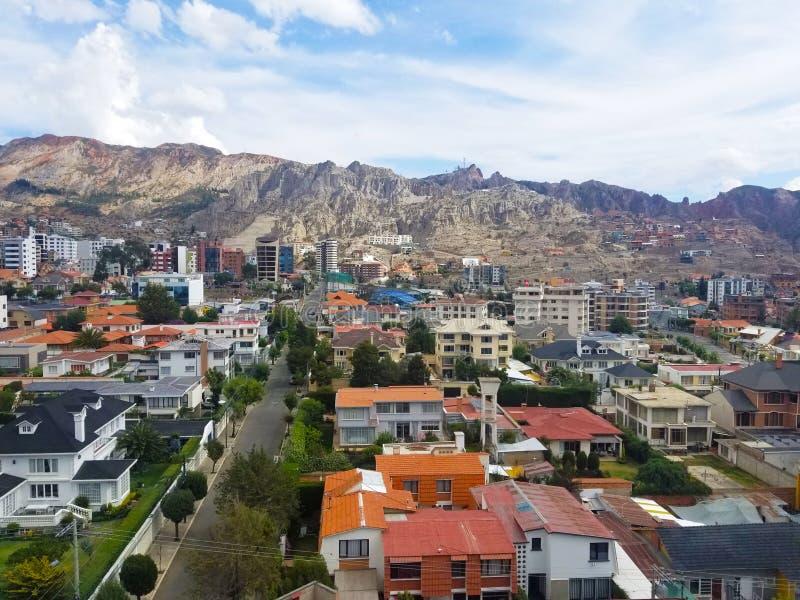 Vista aérea de La Paz, Bolivia Parte del sur de la ciudad foto de archivo