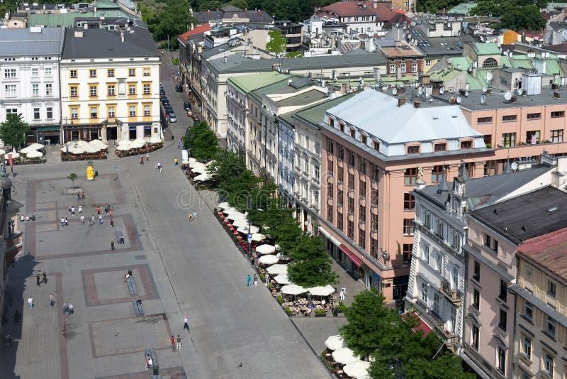 Vista aérea de la pieza del norte de la plaza del mercado principal de Kraków fotografía de archivo libre de regalías