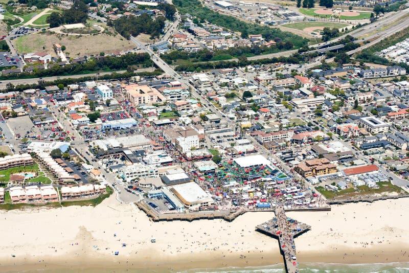 Vista aérea de la playa de Pismo, CA foto de archivo libre de regalías