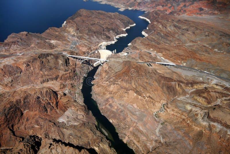 Vista aérea de la presa de Hoover fotos de archivo