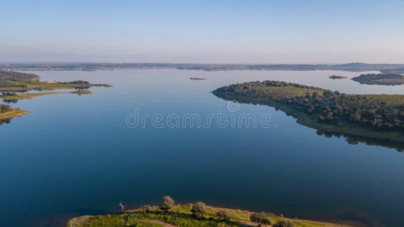 Vista aérea de la presa Monsaraz Alentejo Portugal de Alqueva foto de archivo libre de regalías