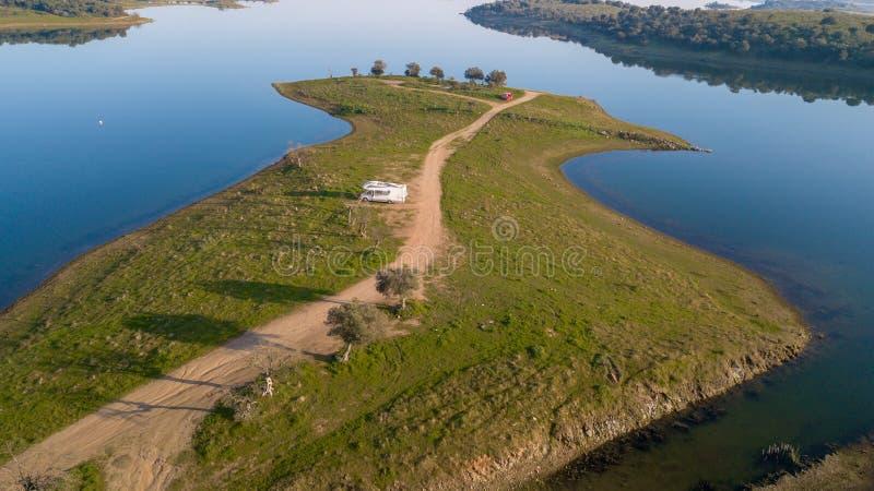 Vista aérea de la presa Monsaraz Alentejo Portugal de Alqueva imagenes de archivo