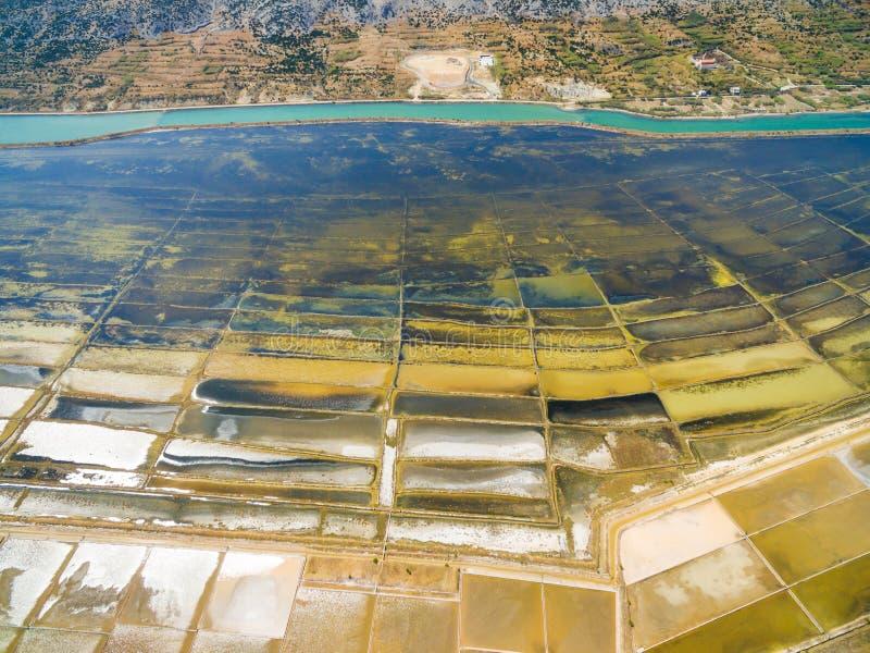 Vista aérea de la salina en la isla del Pag foto de archivo libre de regalías