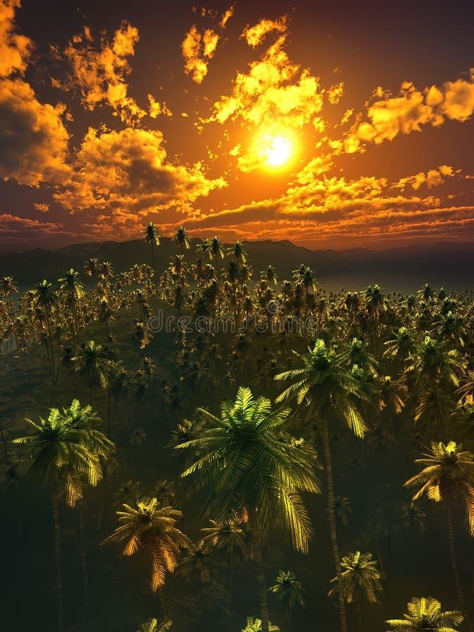 Vista aérea de la tierra tropical crecida por la representación de las palmeras 3d ilustración del vector