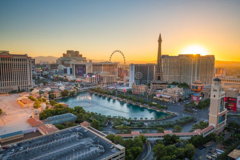 Vista aérea de la tira de Las Vegas en Nevada fotografía de archivo libre de regalías