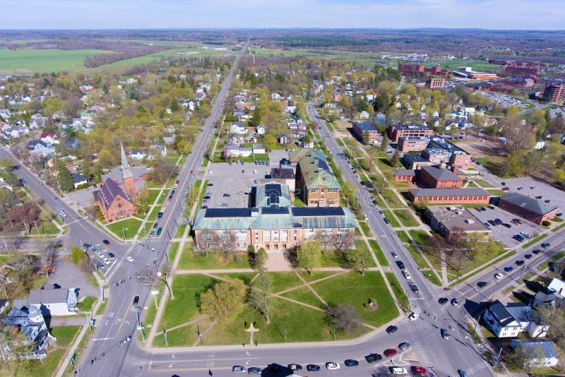 Vista aérea de la universidad de Clarkson, Potsdam, NY, los E.E.U.U. fotos de archivo