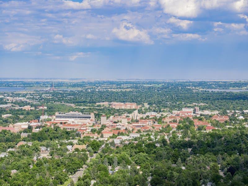 Vista aérea de la universidad de Colorado hermosa Boulder fotografía de archivo