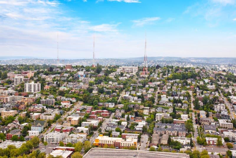 Vista aérea de la vecindad suburbana de Seattle fotografía de archivo libre de regalías