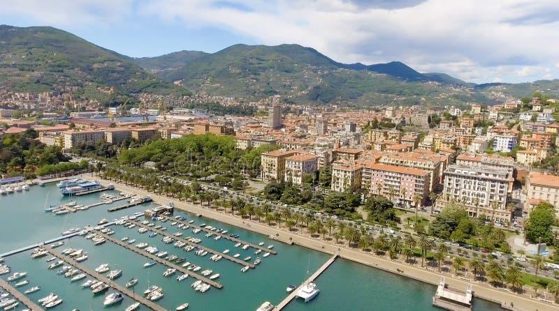 Vista aérea de la zona portuaria de Spezia del La imagen de archivo libre de regalías