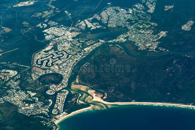 Vista aérea de las cabezas de Noosa Costa de la sol, Australia fotografía de archivo libre de regalías