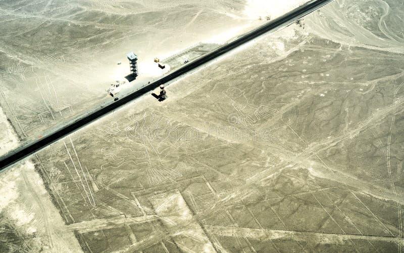 Vista aérea de las líneas en el desierto de Nazca - concepto del geoglyph del viaje con el destino exclusivo en Perú - maravilla  foto de archivo libre de regalías