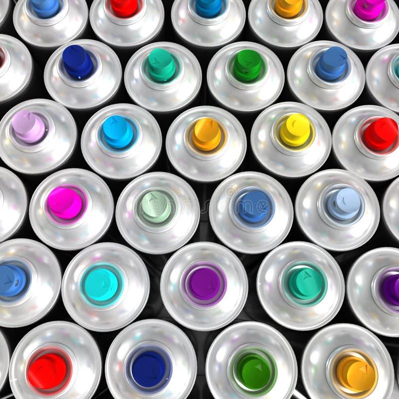 Vista aérea de las latas multicoloras del aerosol imagenes de archivo