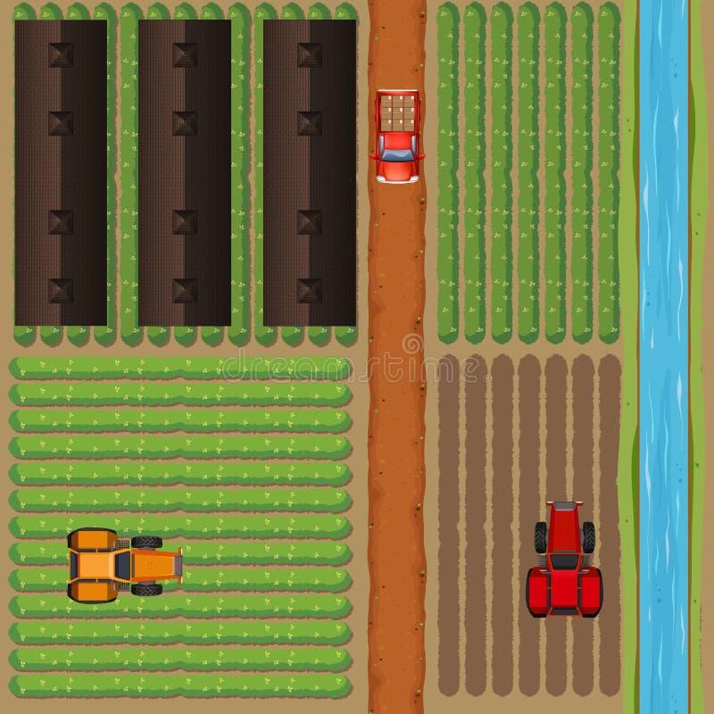 Vista aérea de las tierras de labrantío por el río ilustración del vector