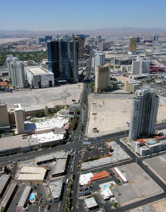 Vista aérea de Las Vegas Boulevard norte fotografia de stock royalty free