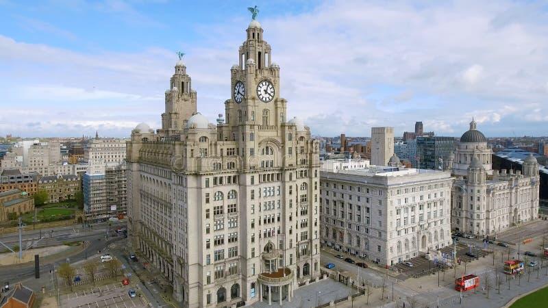 Vista aérea de Liverpool y del edificio real icónico del hígado fotos de archivo libres de regalías