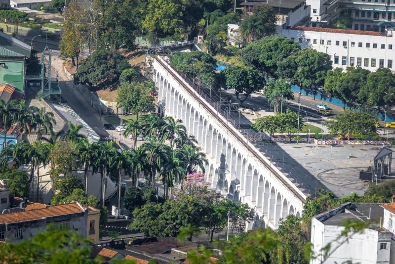 Vista aérea de los arcos de Arcos DA Lapa - Rio de Janeiro, el Brasil fotos de archivo