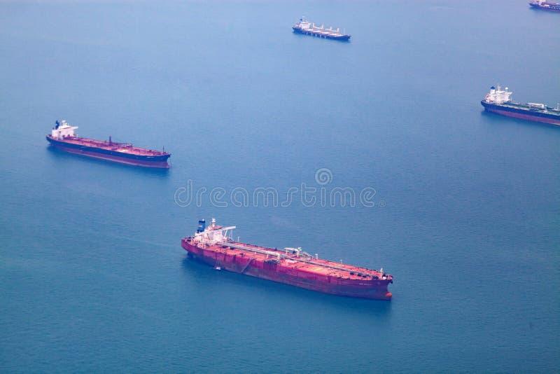 vista aérea de los buques de carga foto de archivo