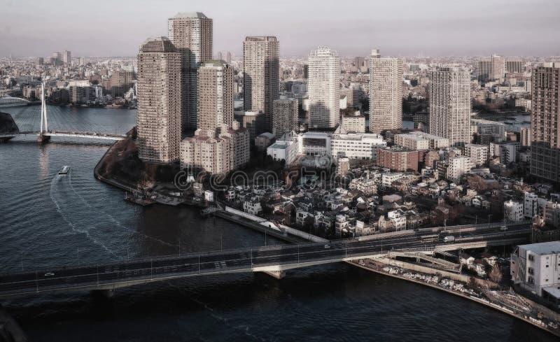 Vista a?rea de los puentes de Tokio, de los rascacielos, de las naves y del r?o de Sumida imágenes de archivo libres de regalías