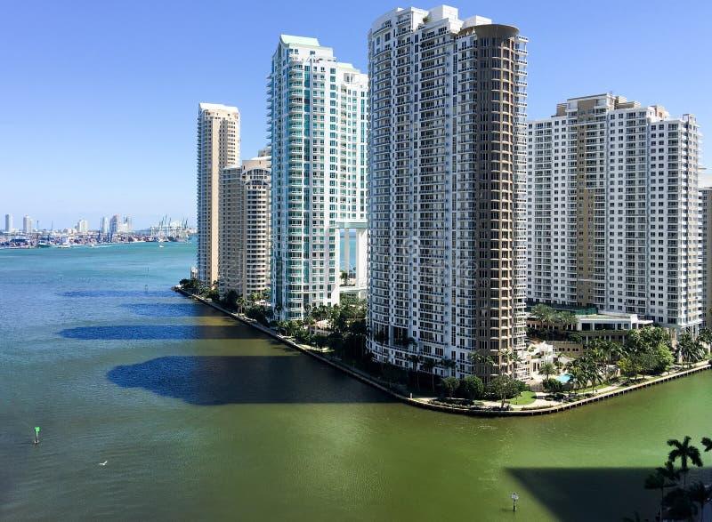 Vista aérea de los rascacielos de la llave de Brickell, Miami fotografía de archivo