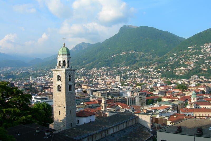 Vista aérea de Lugano, Suíça foto de stock royalty free