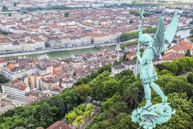 Vista aérea de Lyon fotos de archivo libres de regalías