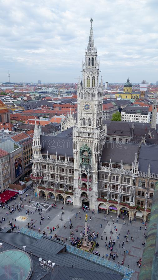 Vista aérea de Marienplatz y del Neues Rathaus, Munich foto de archivo