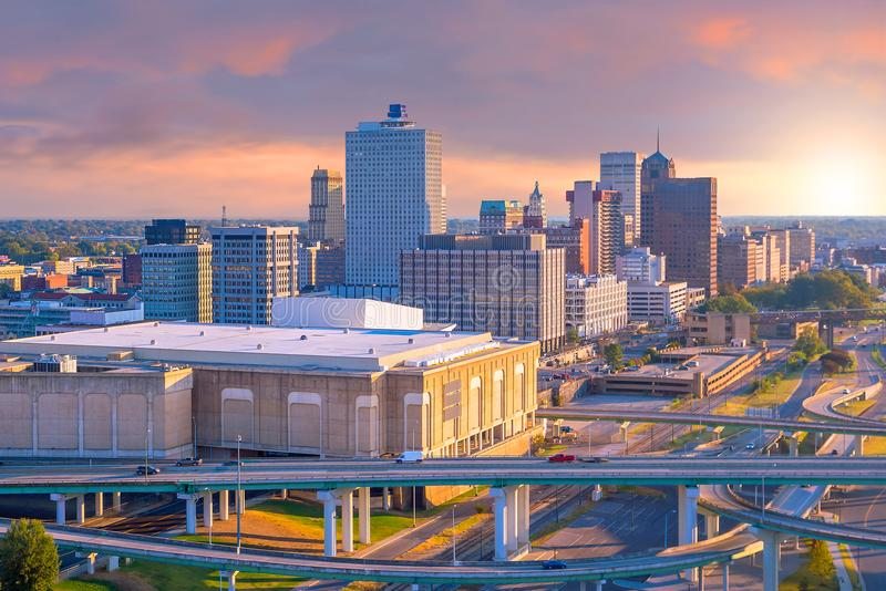 Vista aérea de Memphis céntrica fotos de archivo libres de regalías