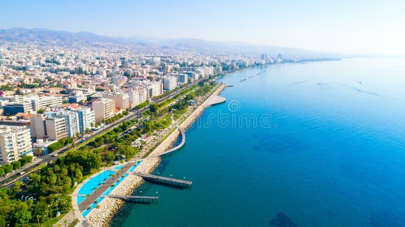 Vista aérea de Molos, Limassol, Chipre foto de stock royalty free