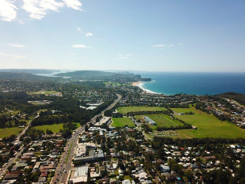 Vista aérea de Mona Vale y de playas septentrionales fotografía de archivo