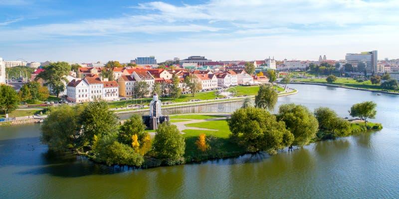 Vista aérea de Nemiga, Minsk belarus foto de archivo