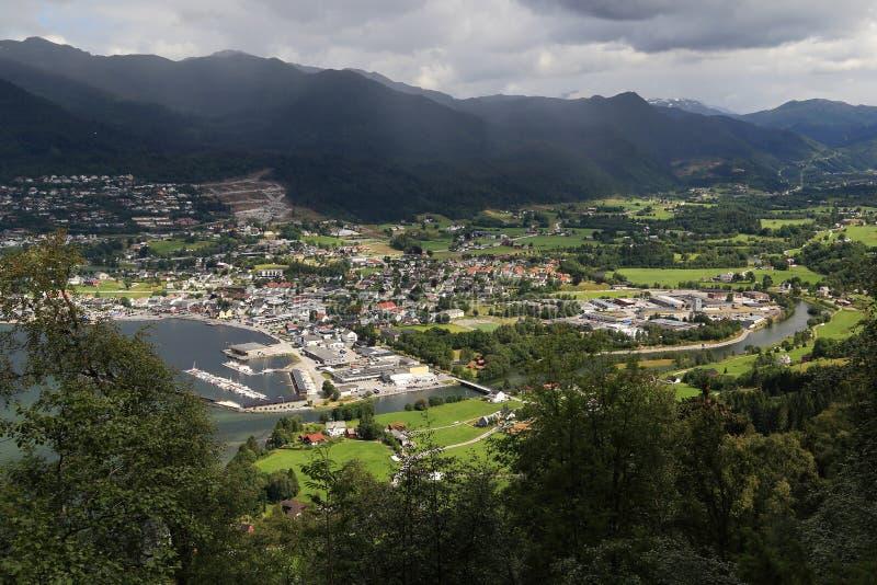 Vista aérea de Nordfjordeyd, Noruega imagenes de archivo