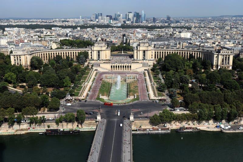 Vista a?rea de Paris, Fran?a com o Seine imagens de stock royalty free
