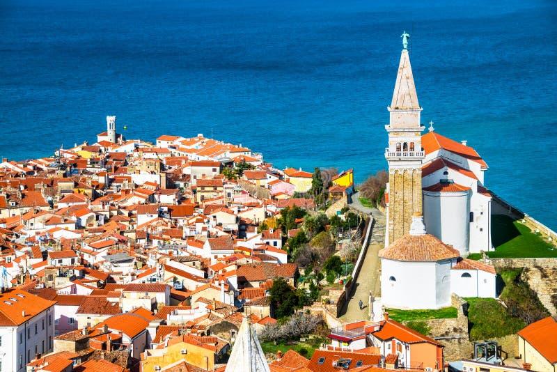 Vista aérea de Piran foto de archivo libre de regalías
