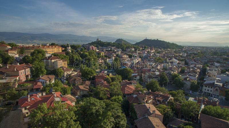 Vista aérea de Plovdiv, Bulgária, o 23 de outubro de 2018 fotografia de stock royalty free