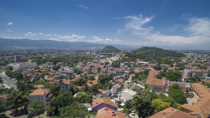Vista aérea de Plovdiv, Bulgaria fotografía de archivo