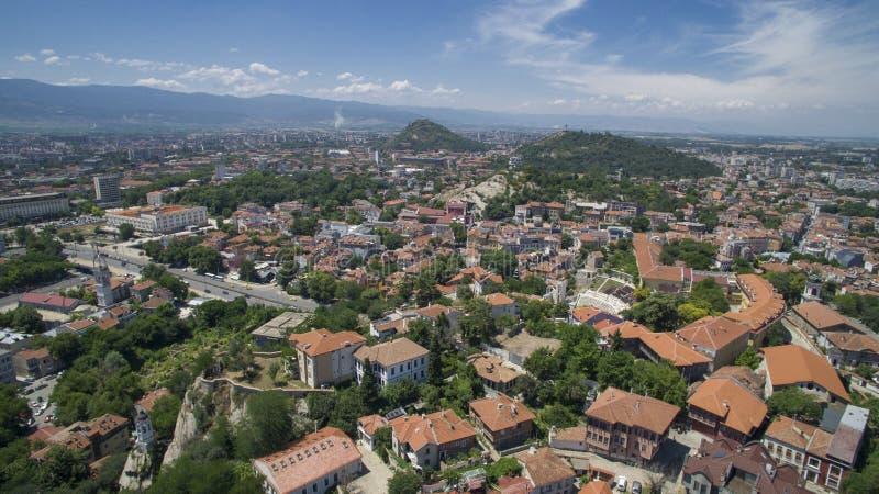 Vista aérea de Plovdiv, Bulgaria fotos de archivo
