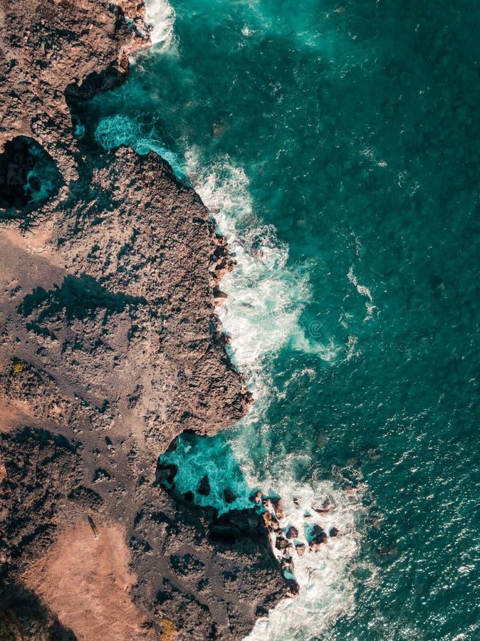 Vista aérea de Pont Naturel Maurícias Ponte de pedra natural, atraction do litoral do sul em Maurícias imagens de stock