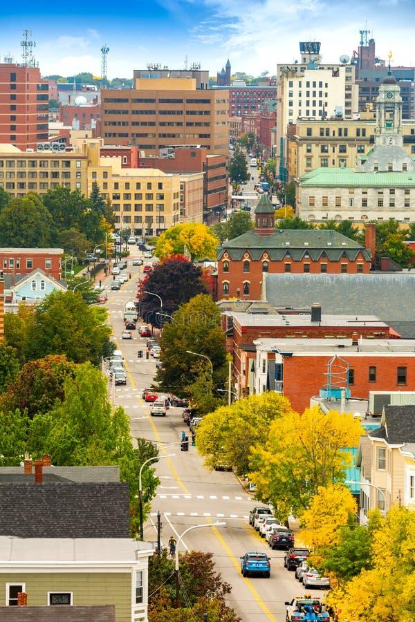 Vista aérea de Portland céntrica, Maine imágenes de archivo libres de regalías